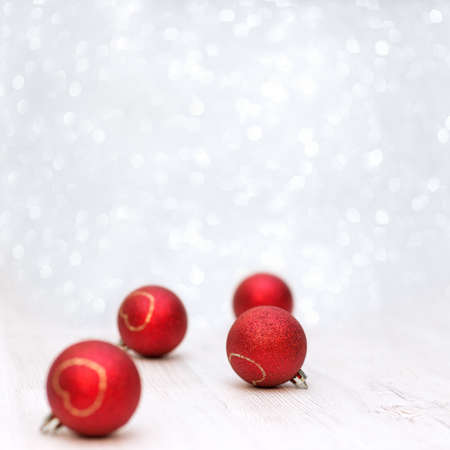 Christmas decoration on white background with red balls,soft focus