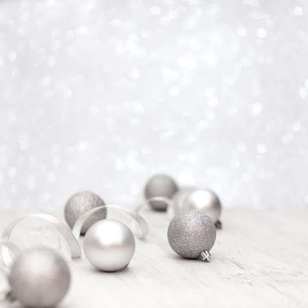 Christmas decoration on white background with balls,soft focus