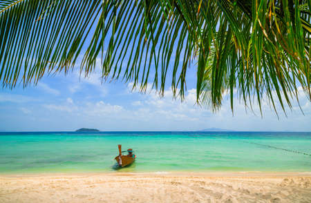 Thailand beach exotic island and long boat. Tropical paradise for holiday