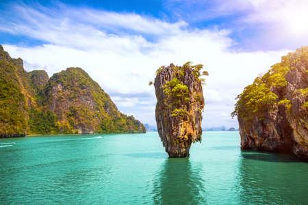 Phuket Thailand island. James Bond island in Phang Nga bay. Famous tropical beach and famous travel destination