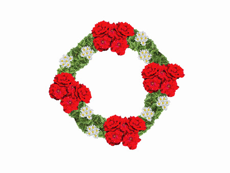 Wreath making several red and white flowers with Christmas a white background.