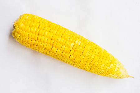 Boiled sweet corn, it is placed on a white isolated background.