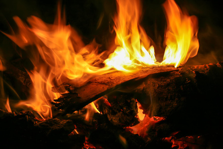 Abstract image of wood burning fire of the cache. Use a pipe toast.