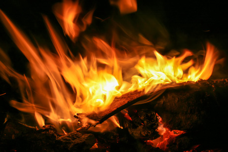 Abstract image of wood being burned. A bonfire use for Camping.