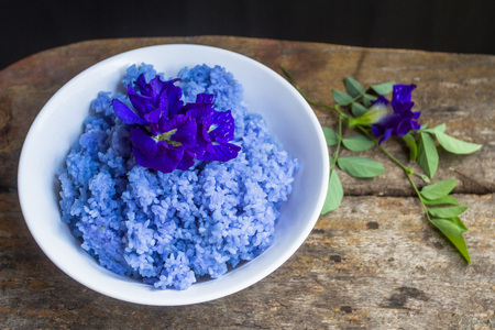 The rice mixed with Clitoria ternatea flowers. Herbs are good for the body.