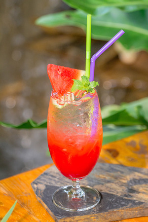 Watermelon juice mix soda set on the table ready to serve.