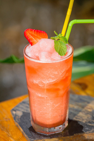 Strawberry juice Frappe set on the table ready to serve.