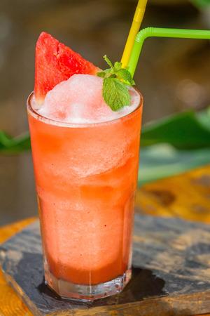 Watermelon juice Frappe set on the table ready to serve. Zdjęcie Seryjne