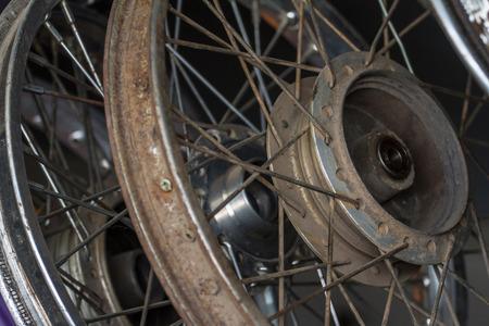 Old motorcycle wheel Prepared to serve as spares. Zdjęcie Seryjne