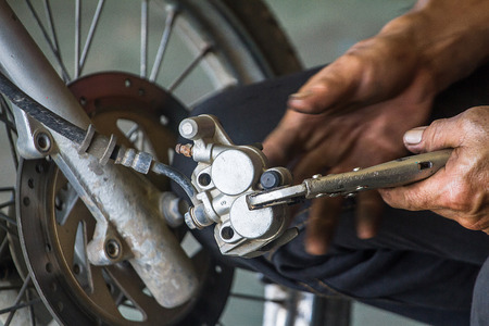 Technical change brake pads, motorcycle of each store is different. 写真素材