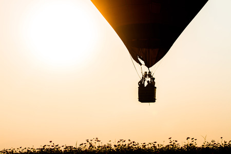 Silhouette balloon with the light of the evening sun beautiful.