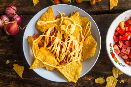 Nacho cheese as snacks cooked easily suitable for eating with beer or wine.
