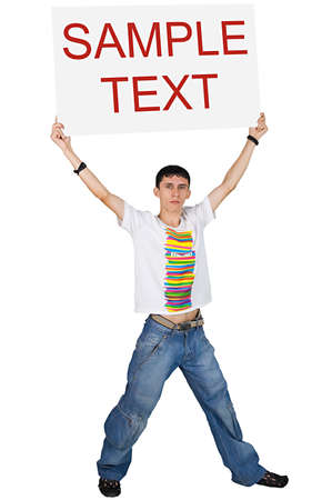 Boy holding white board with text above her head, isolated on the white background photo