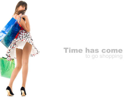 go shopping: Conceptual image, Time has come to go shopping, text easily can be removed