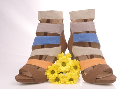 women shoes with yellow flowers photo