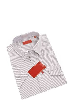Isolated men shirt with label Stock Photo