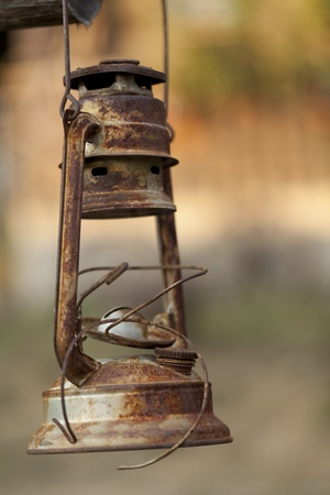 old rusty gas lamp photo