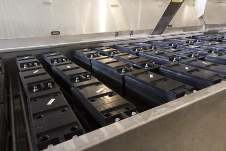 conveyor belt battery production Stock Photo