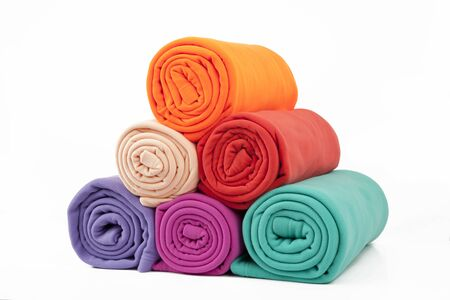 blankets in many colours Stock Photo