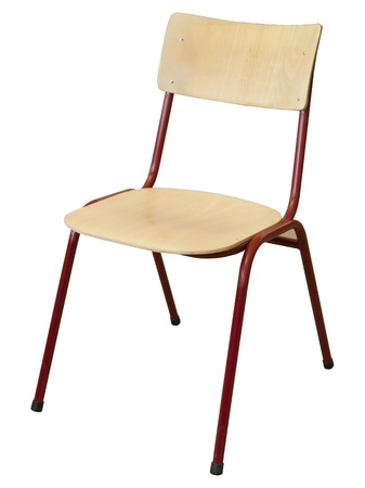 old school: metal and wood school chair Stock Photo