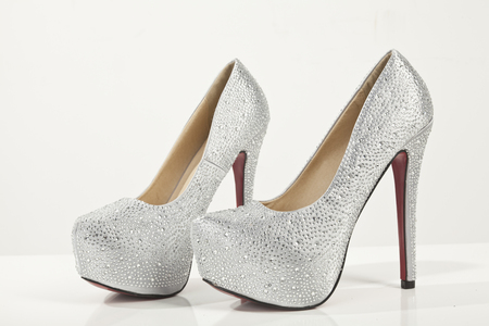 silver high heels shoes photo