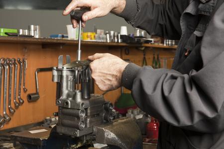 metal parts of hydraulic machines Archivio Fotografico