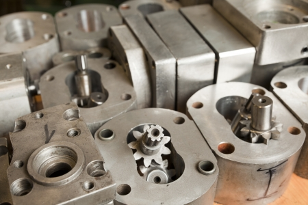 metal parts of hydraulic machines Stock Photo