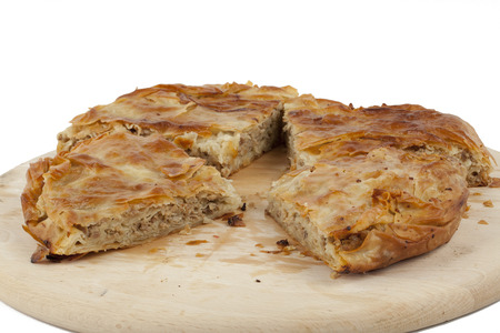 ham and cheese pie on white background photo