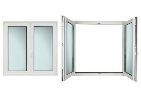 白い背景に白いプラスチックの窓