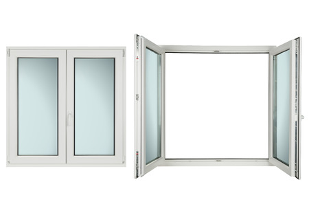 White plastic windows on white background