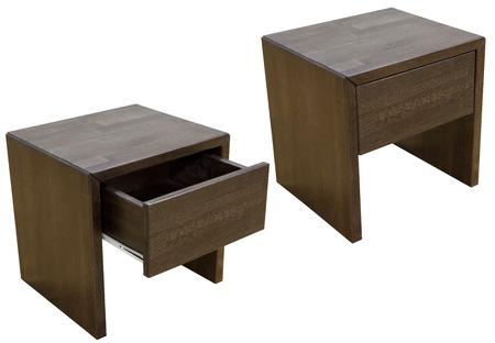 白で隔離木製ベッドサイド テーブル