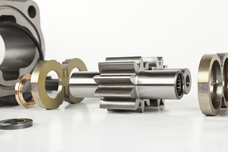 components of hydraulic gear pumps Stock Photo