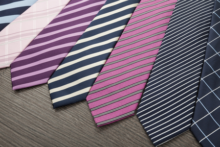 neck tie: Group of colorful male ties Stock Photo