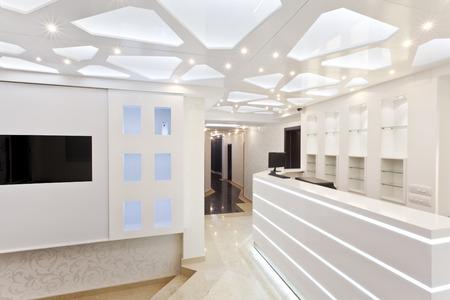白いホテル フロント空スペース 写真素材