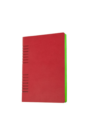 moleskine: red notebook isolated on white Stock Photo