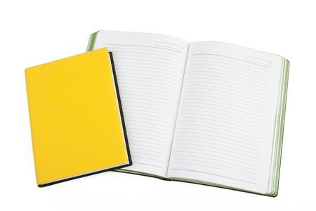 moleskine: yellow notebook isolated on white