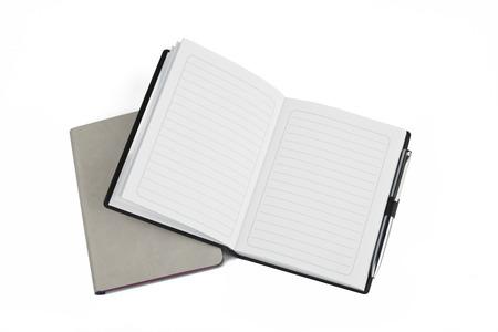 moleskine: grey notebook isolated on white Stock Photo