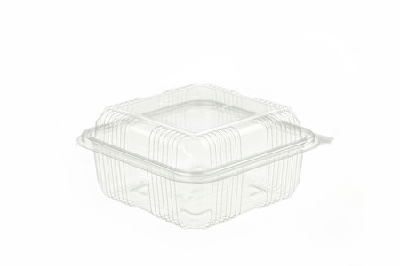 transparent plastic container isolated on white