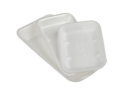Styrofoam containers on white backgrounds