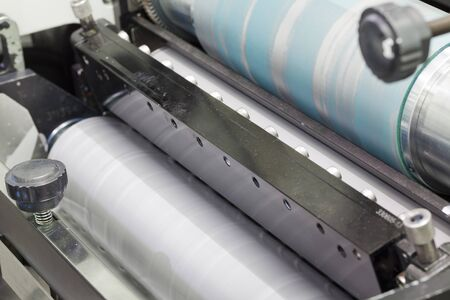 printing inks: detail of roll printing machine