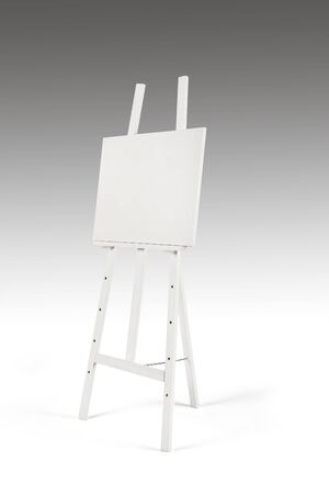 easel: white easel on white and grey background