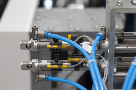 pneumatic components of macinery close up 스톡 콘텐츠