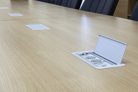 detai: detail on conference table with multifunctional socket