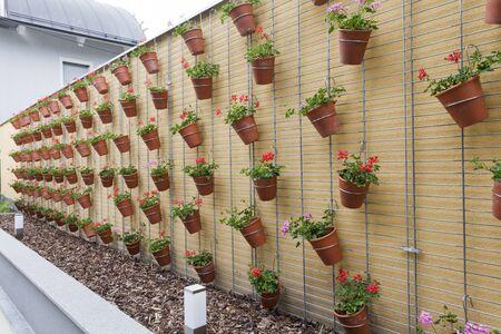 big wall with meny flowerpot, decoration, backgrund