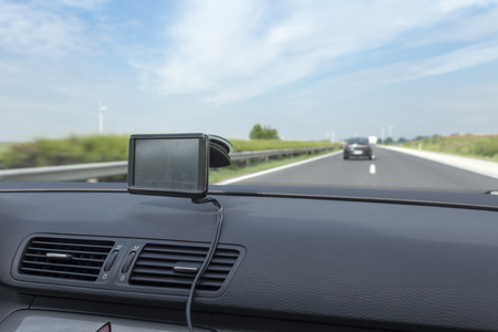 car navigation: car navigation on dashboard close up Stock Photo