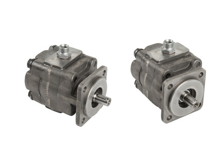 two hydraulic pump isolated on white
