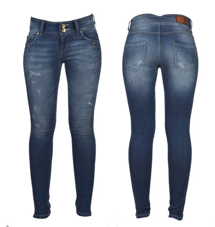 jeans in front and the back isolated on white Stock Photo
