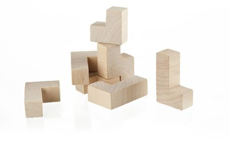 wooden toy: Childrens wooden toy stacking isolated on white