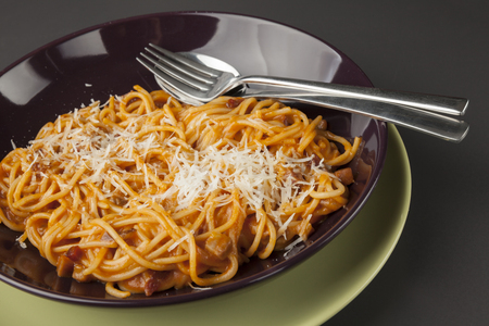 bolognaise: spaghetti bolognaise, italian food on plate Stock Photo