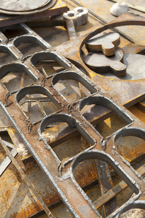 scrap: rusted scrap metal abstract background Stock Photo